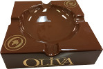 Ashtray, Oliva, Brown Ceramic, Round